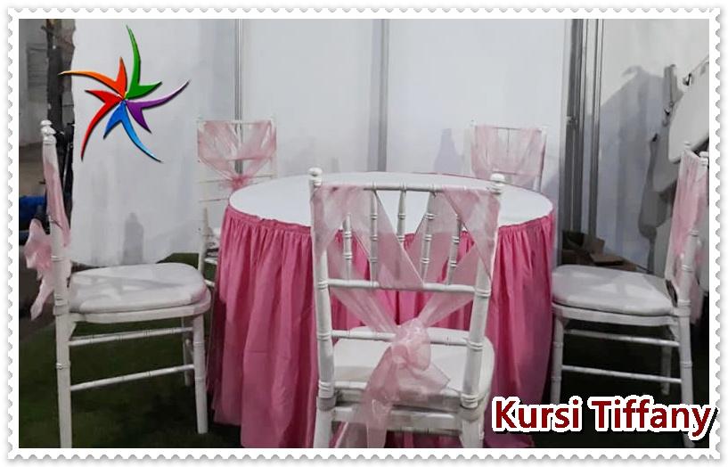 Sewa Kursi Tiffany Putih+Pita Pilihan Warna